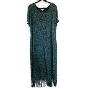Harlow Green Lacey Knit Fringe Hem Dress Plus 22